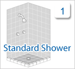 Click if you have a standard tiled shower recess